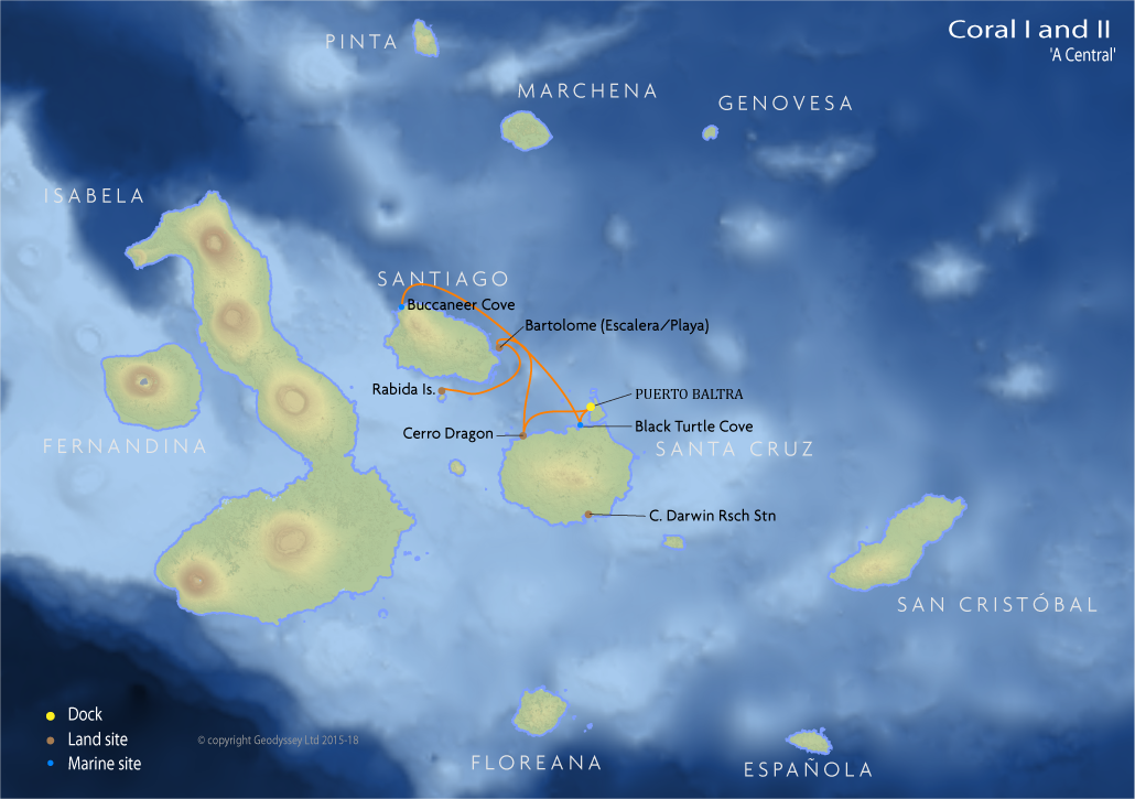 Itinerary map for Coral I and II 'A Central' cruise