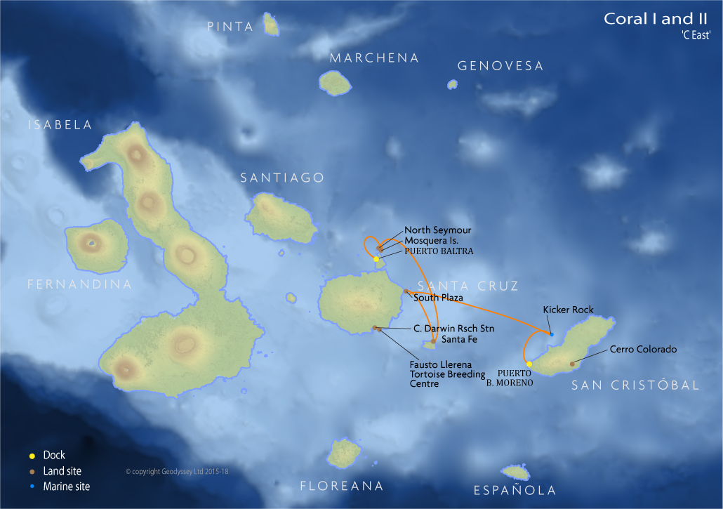 Itinerary map for Coral I and II 'C East' cruise