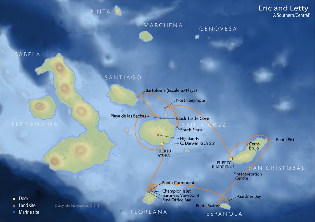 Itinerary map for Eric and Letty 'A Southern/Central' cruise