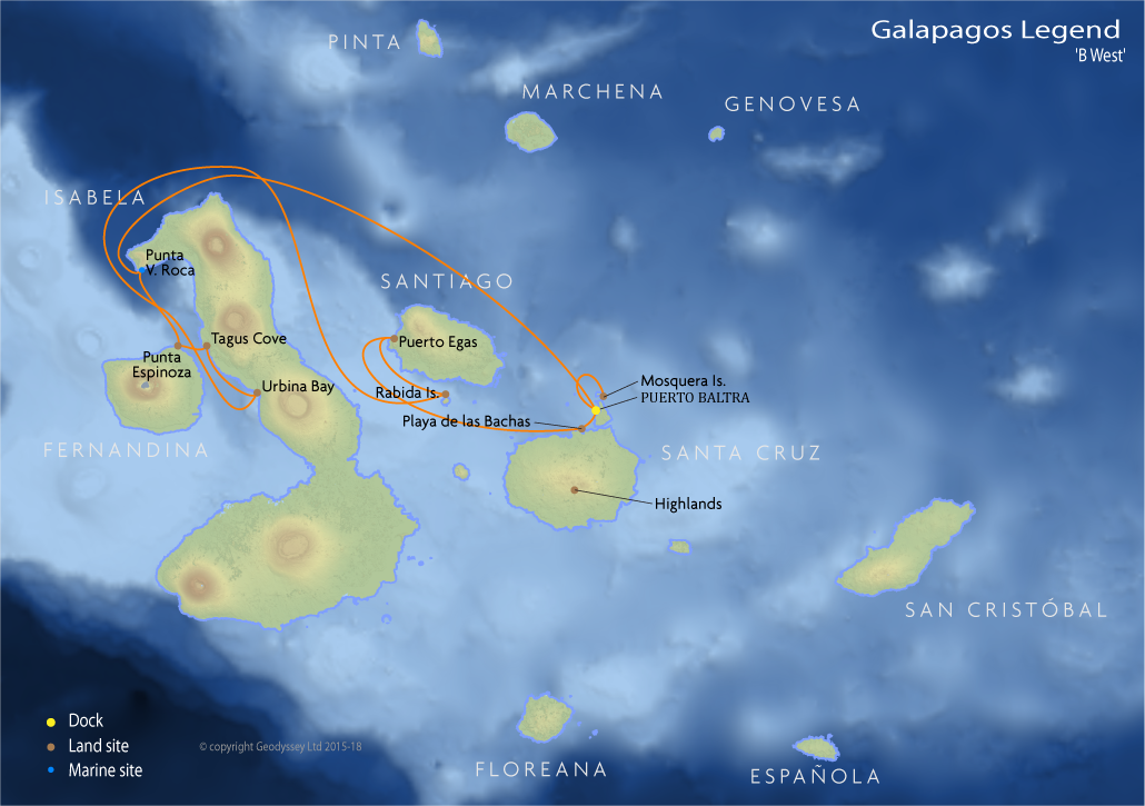 Itinerary map for Galapagos Legend 'B West' cruise