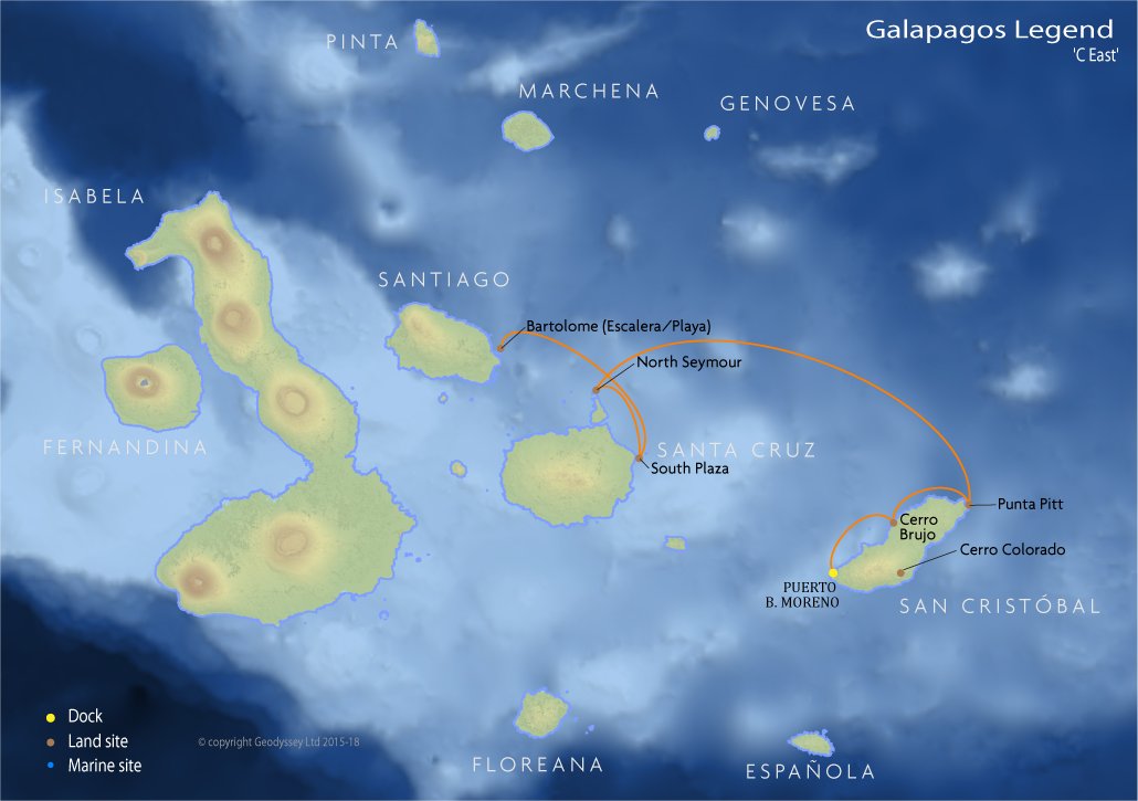 Itinerary map for Galapagos Legend 'C East' cruise