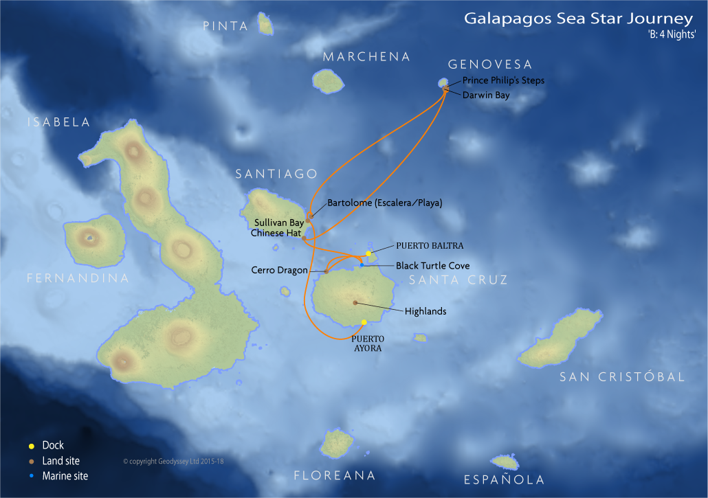 Itinerary map for Galapagos Sea Star Journey 'B: 4 Nights' cruise