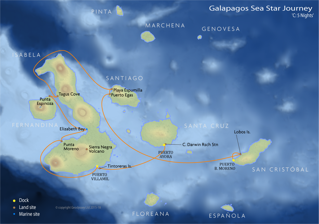 Itinerary map for Galapagos Sea Star Journey 'C: 5 Nights' cruise