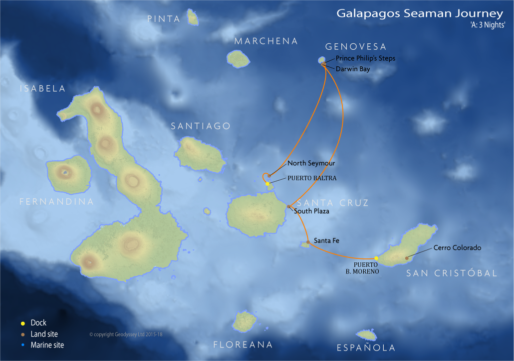 Itinerary map for Galapagos Seaman Journey 'A: 3 Nights' cruise
