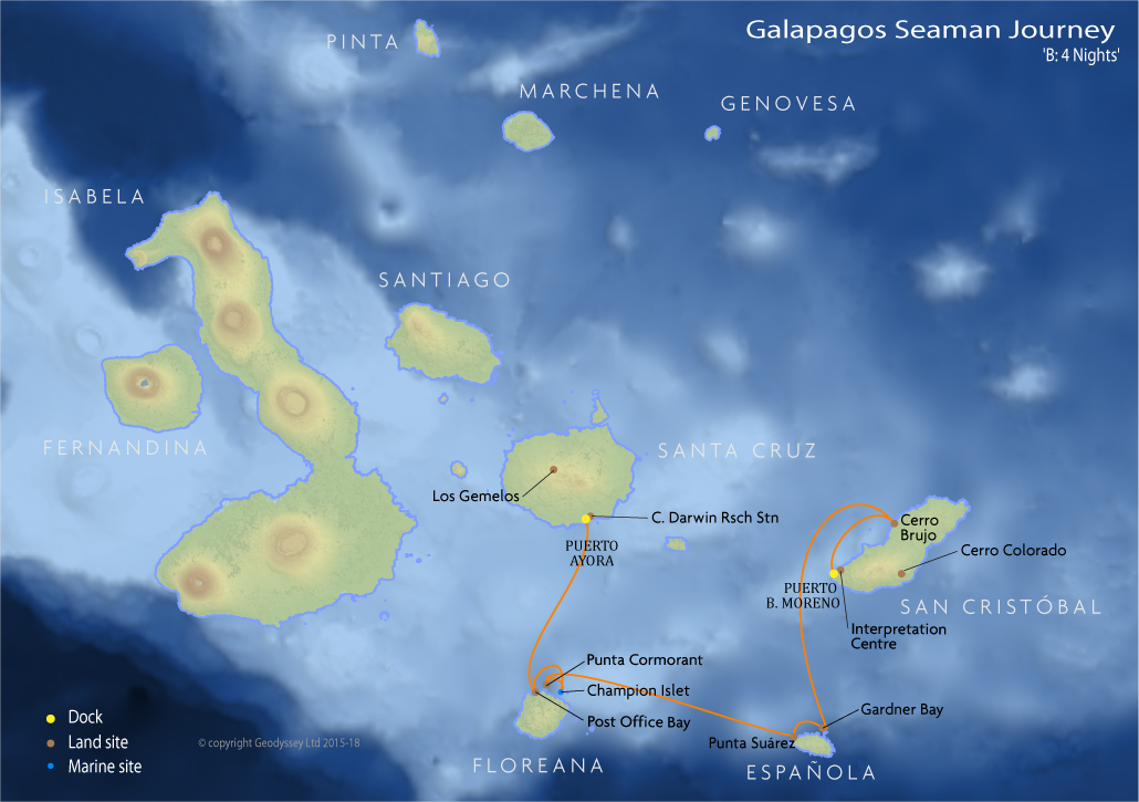 Itinerary map for Galapagos Seaman Journey 'B: 4 Nights' cruise
