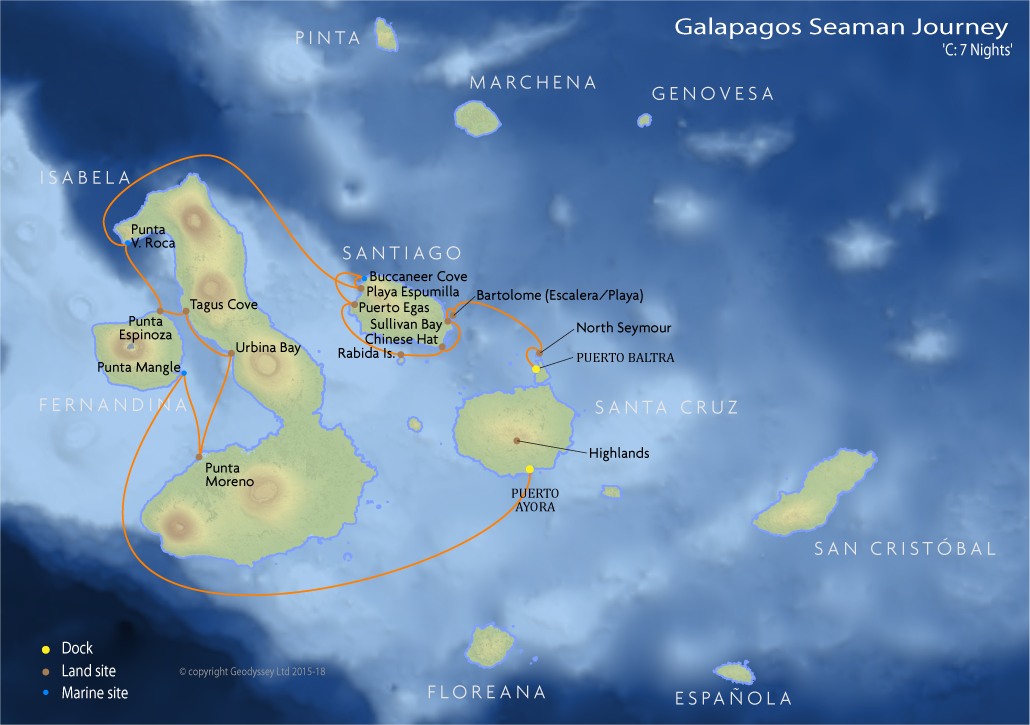 Itinerary map for Galapagos Seaman Journey 'C: 7 Nights' cruise
