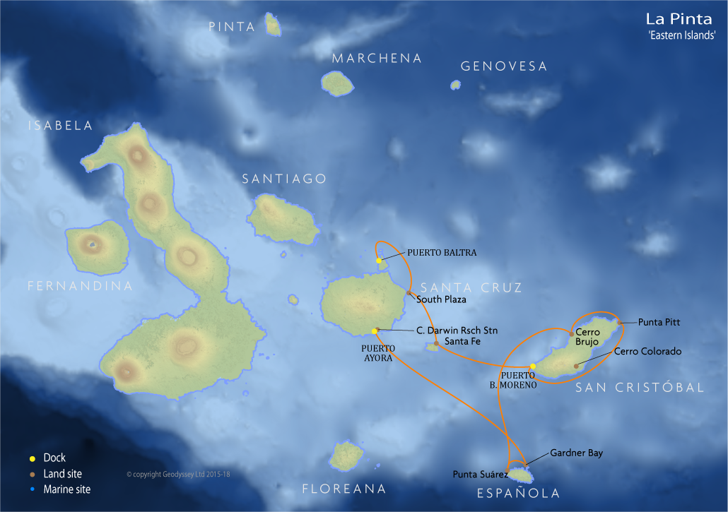 Itinerary map for La Pinta 'Eastern Islands' cruise