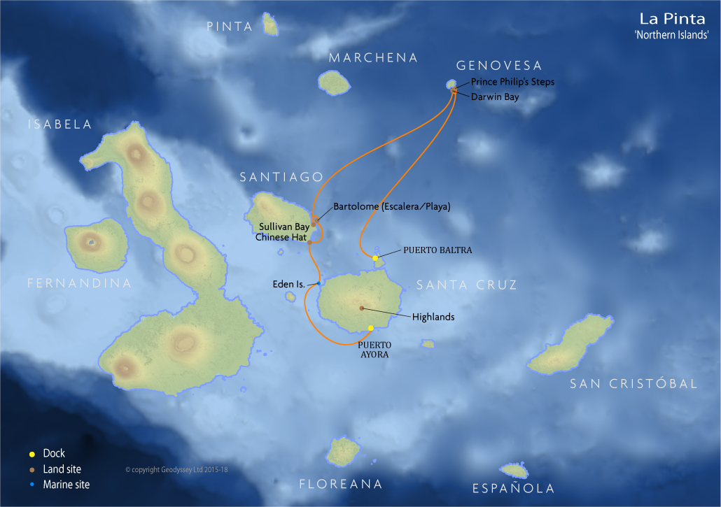 Itinerary map for La Pinta 'Northern Islands' cruise