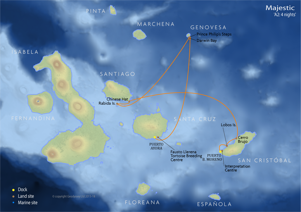Itinerary map for Majestic 'A2: 4 nights' cruise