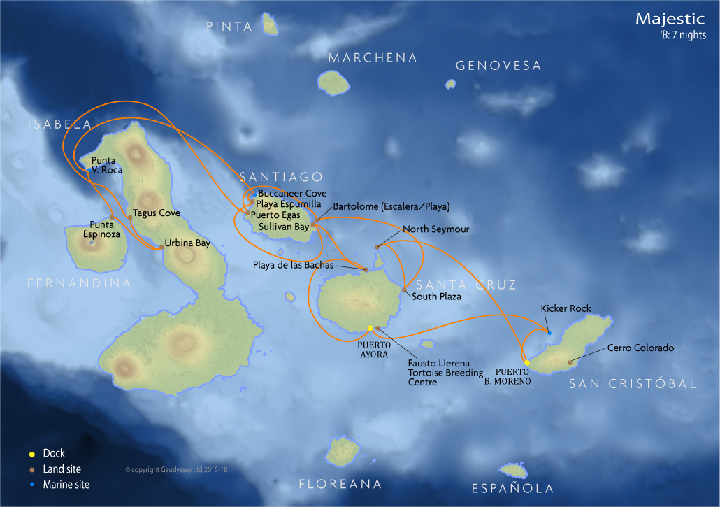 Itinerary map for Majestic 'B: 7 nights' cruise