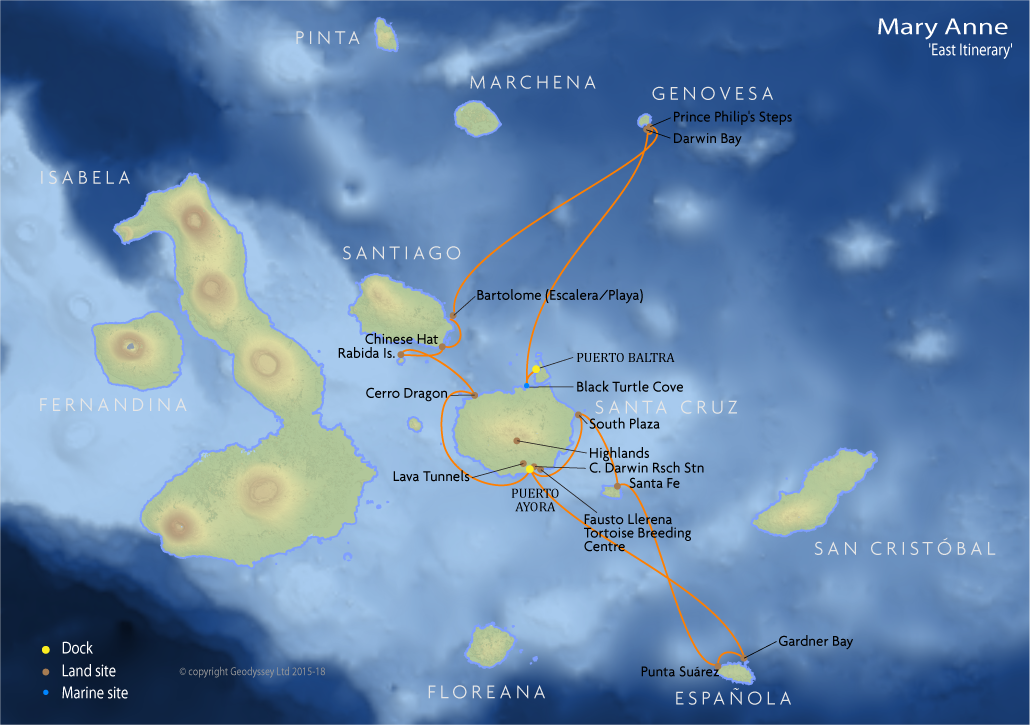 Itinerary map for Mary Anne 'East Itinerary' cruise