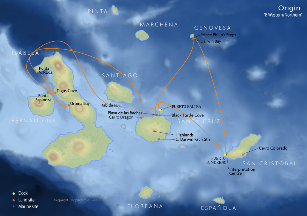 Itinerary map for Origin 'B Western/Northern' cruise