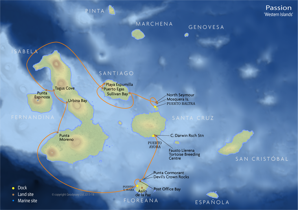 Itinerary map for Passion 'Western Islands' cruise