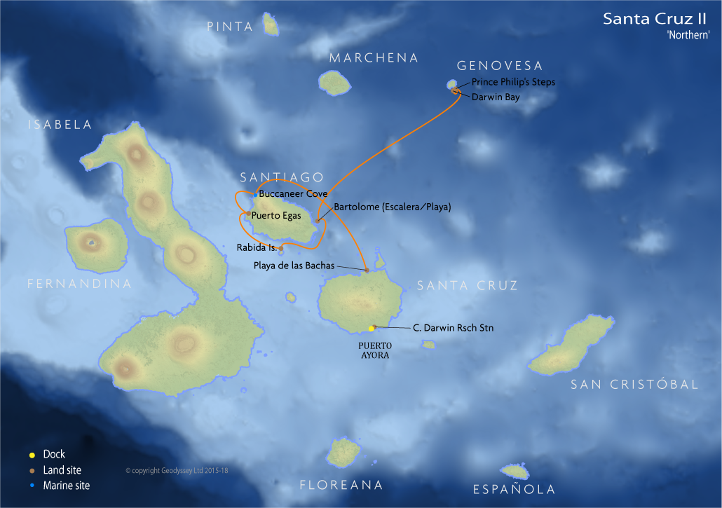 Itinerary map for Santa Cruz II 'Northern' cruise
