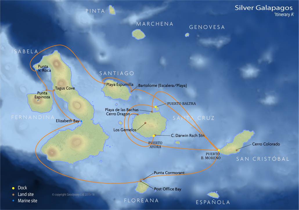 Itinerary map for Silver Galapagos 'Itinerary A' cruise