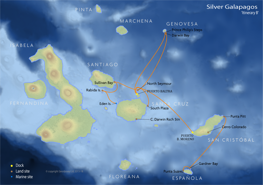 Itinerary map for Silver Galapagos 'Itinerary B' cruise