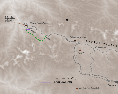 Route map for Peru 'A Quieter Inca Trail' holiday