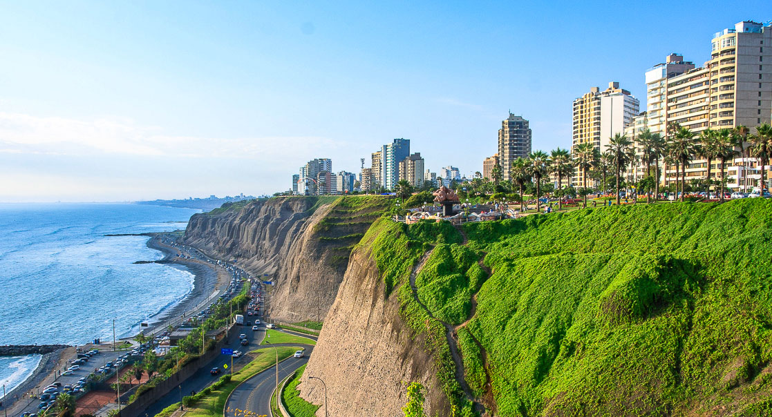 Pacific cliffs at Miraflores, Lima